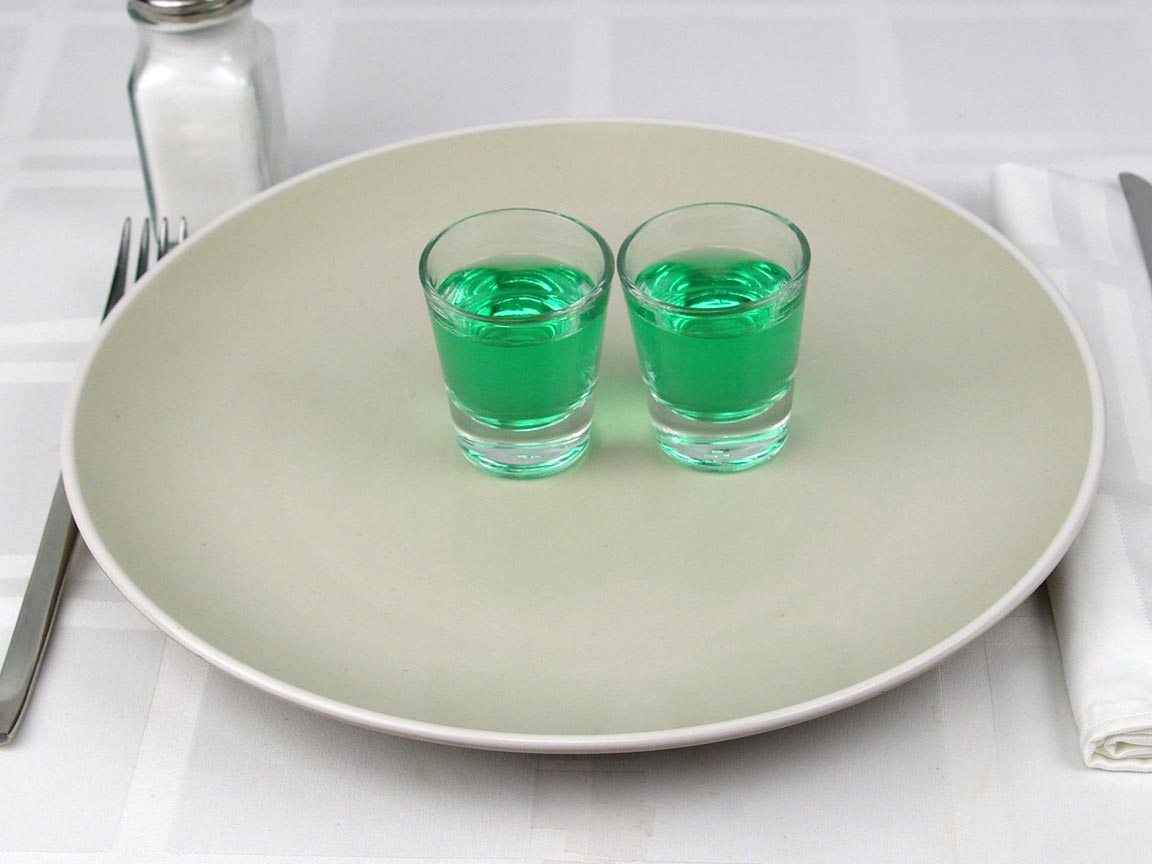 Calories in 2 fl oz of Creme De Menthe