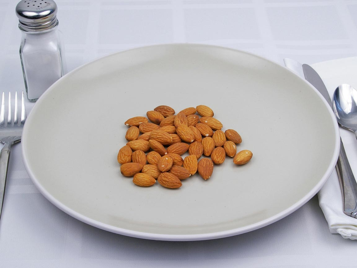 Calories in 56 grams of Almonds - No Salt