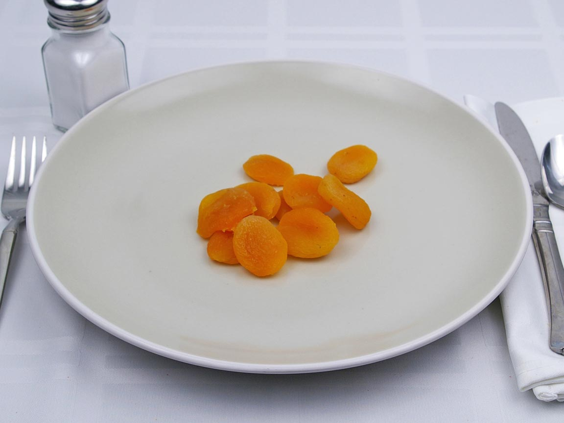 Calories in 10 piece(s) of Apricot - Dried- No Added Sugar