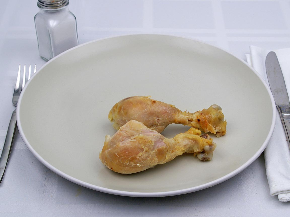Calories in 2 drumstick of Chicken - Baked - Drumstick - Skinless