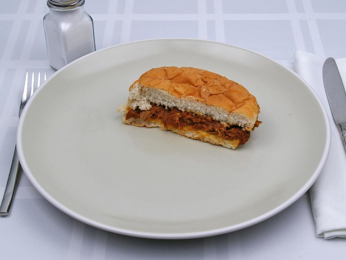 Calories in 0.5 sandwich(s) of BBQ Beef Sandwich