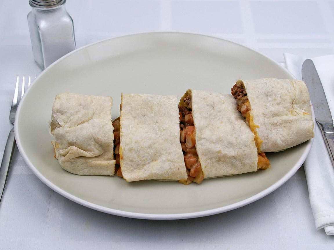 Calories in 1 burrito(s) of Baja Fresh - Bean Cheese & Steak Burrito