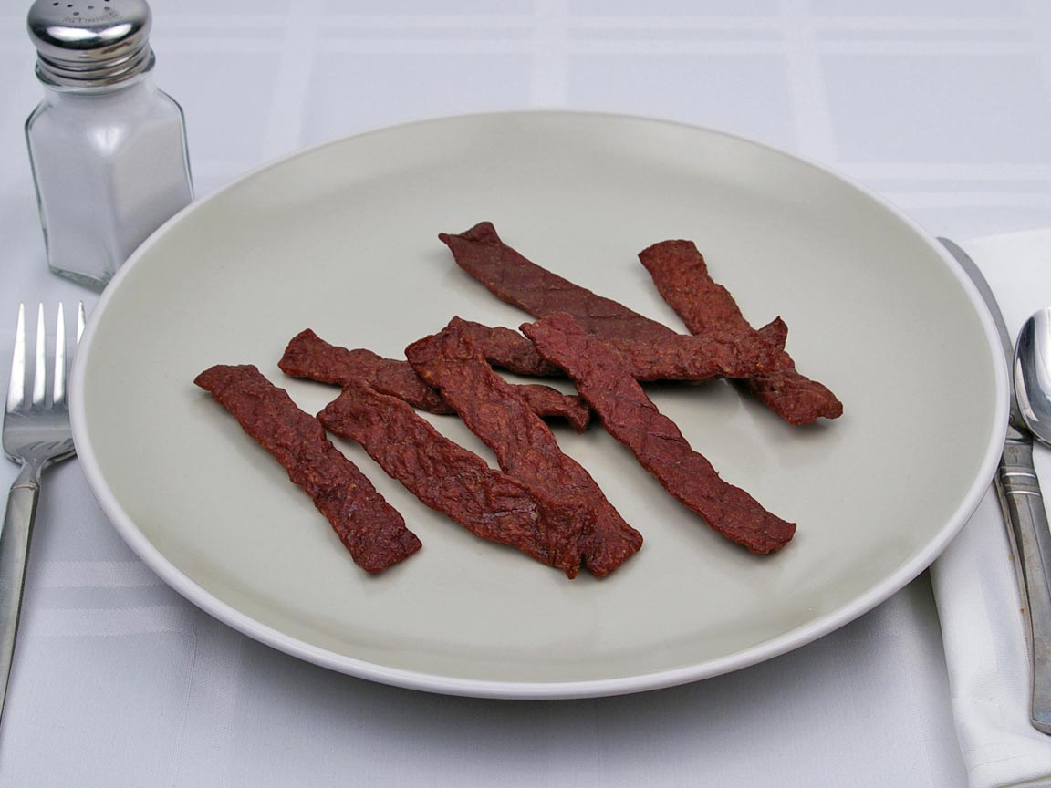 Calories in 8 each of Beef Jerky - Chopped and Formed - Avg