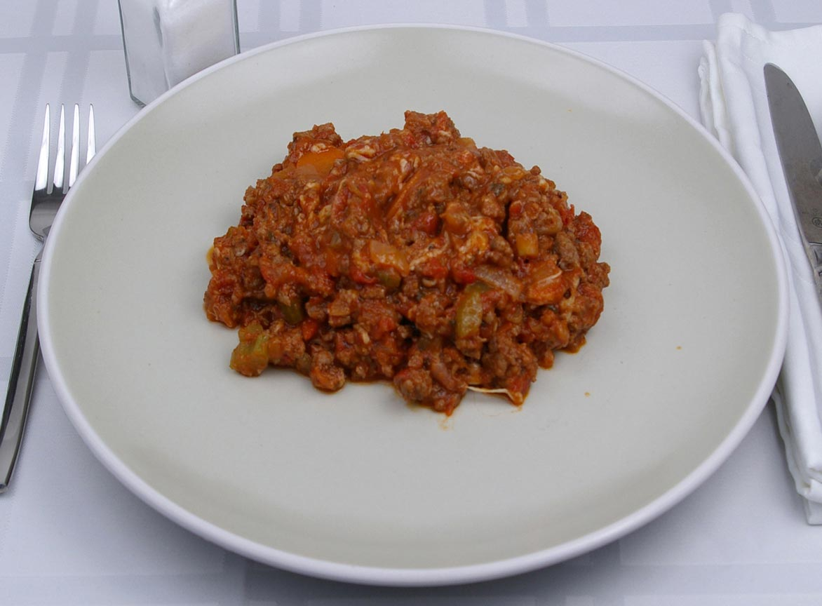 Calories in 1.5 cup(s) of Bolognese Sauce with meat