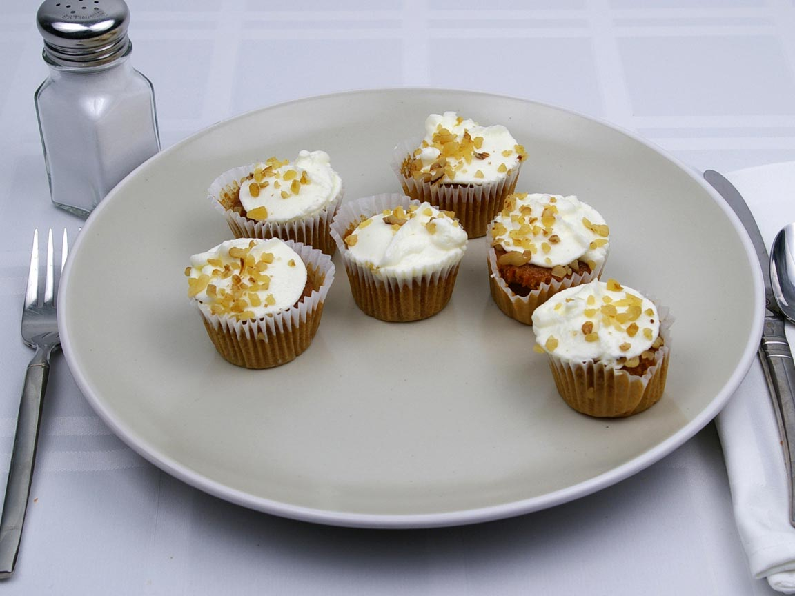 Calories in 6 piece(s) of Mini Carrot Cake Cupcake