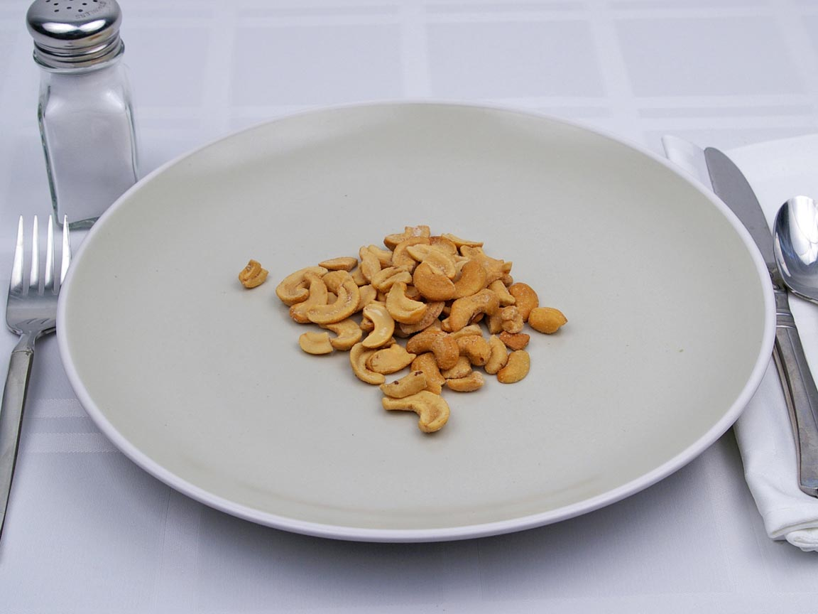 Calories in 45 grams of Cashews - No Salt