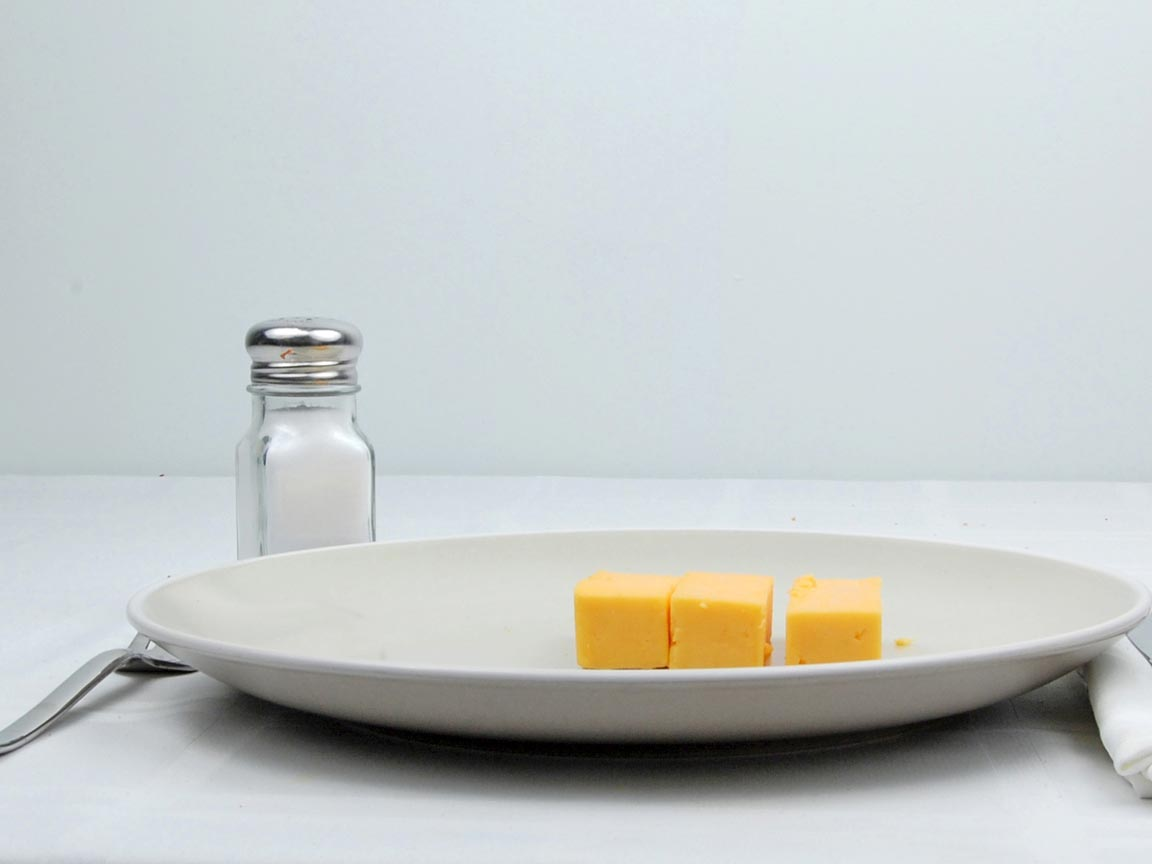 Calories in 85 grams of Cheddar Cheese - Cubed