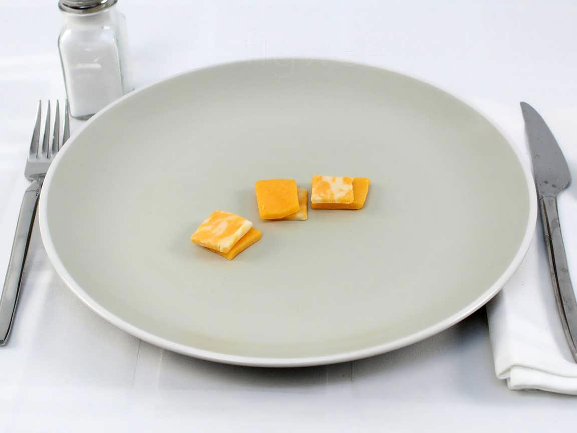 Calories in 18 grams of Cheddar Cheese Pieces