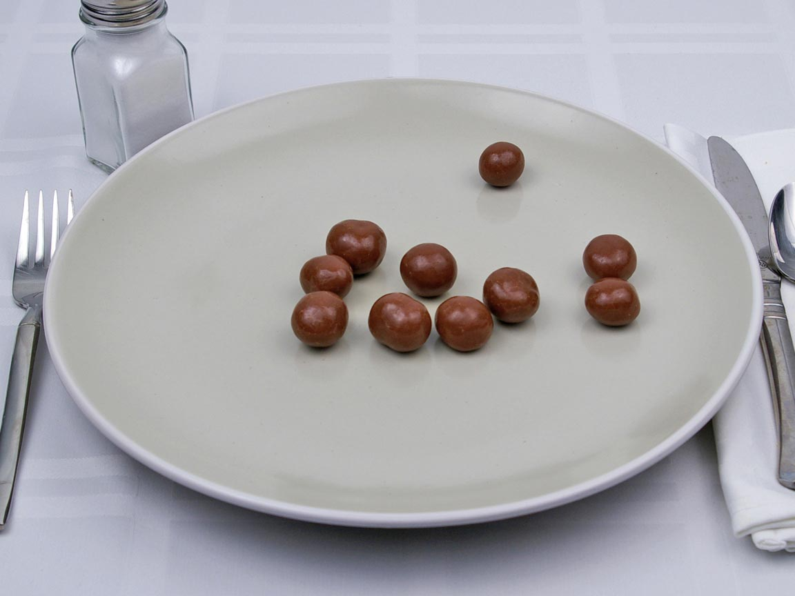 Calories in 10 piece(s) of Milk Chocolate Covered Macadamia Nuts