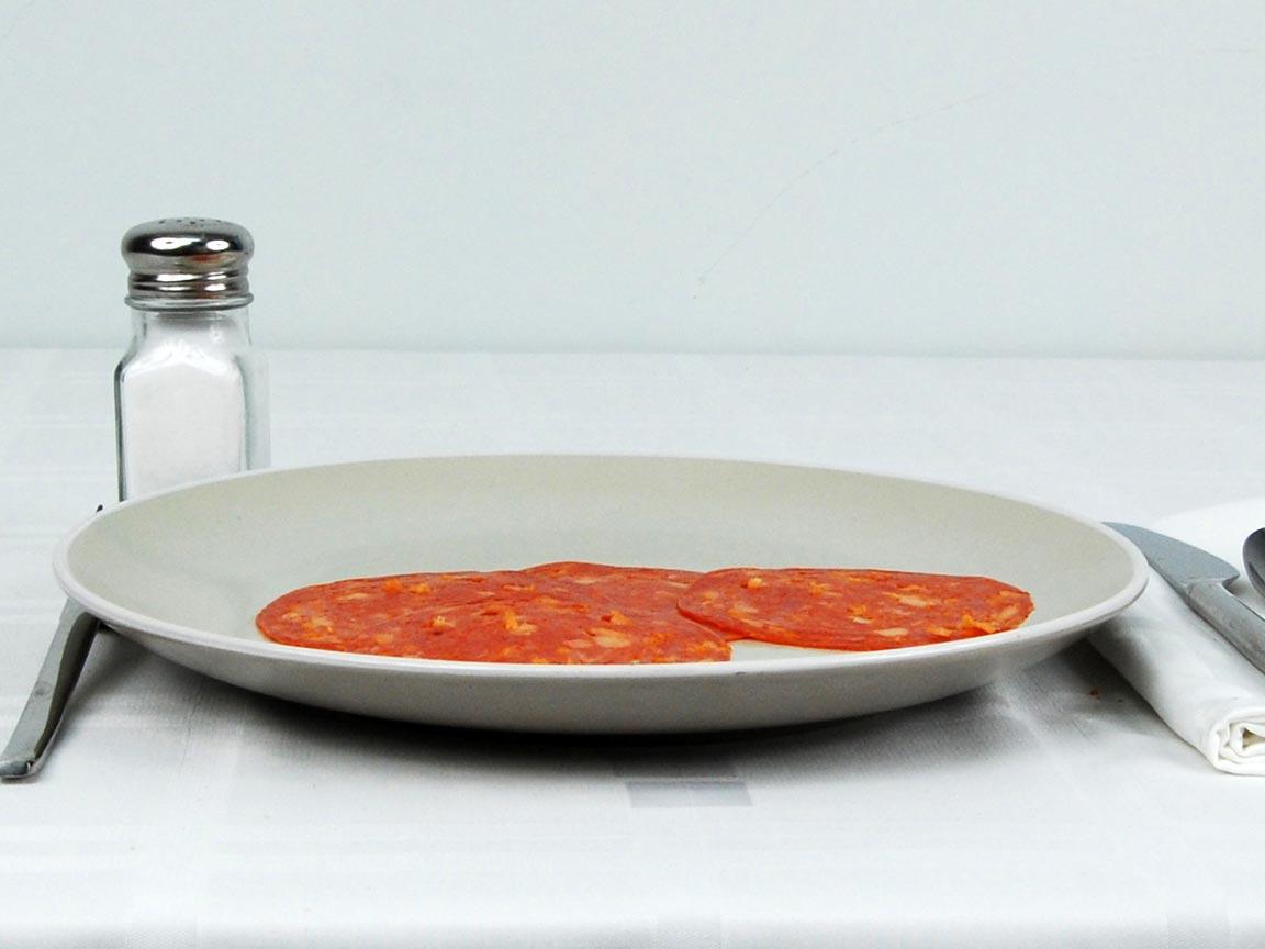Calories in 4 ea(s) of Chorizo Slices
