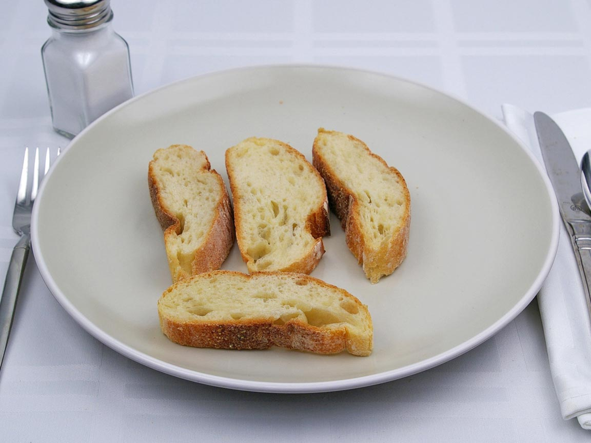 Calories in 4 slice(s) of Ciabatta Bread - Sliced