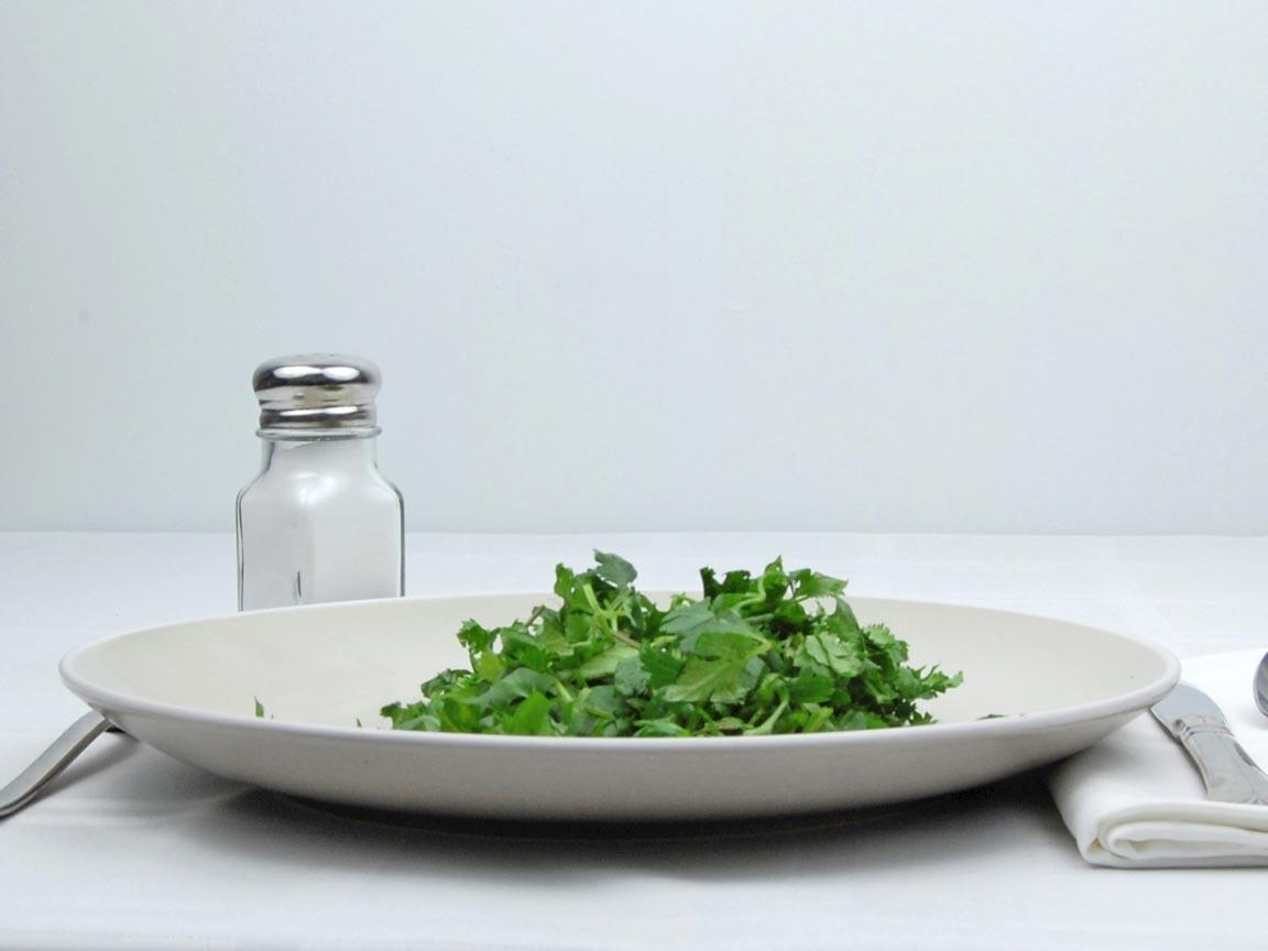 Calories in 1 cup of Cilantro - Coriander - Fresh