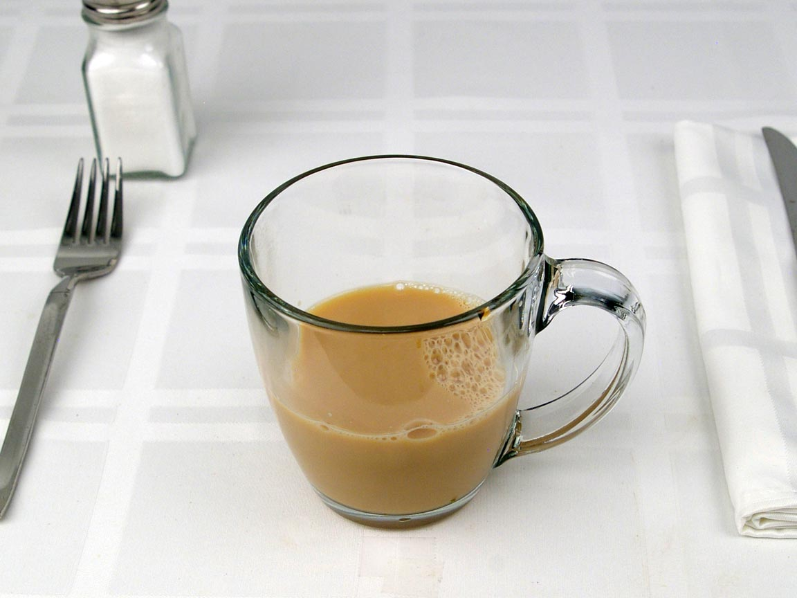 Calories in 6 fl oz(s) of Cafe Au Lait - Whole Milk