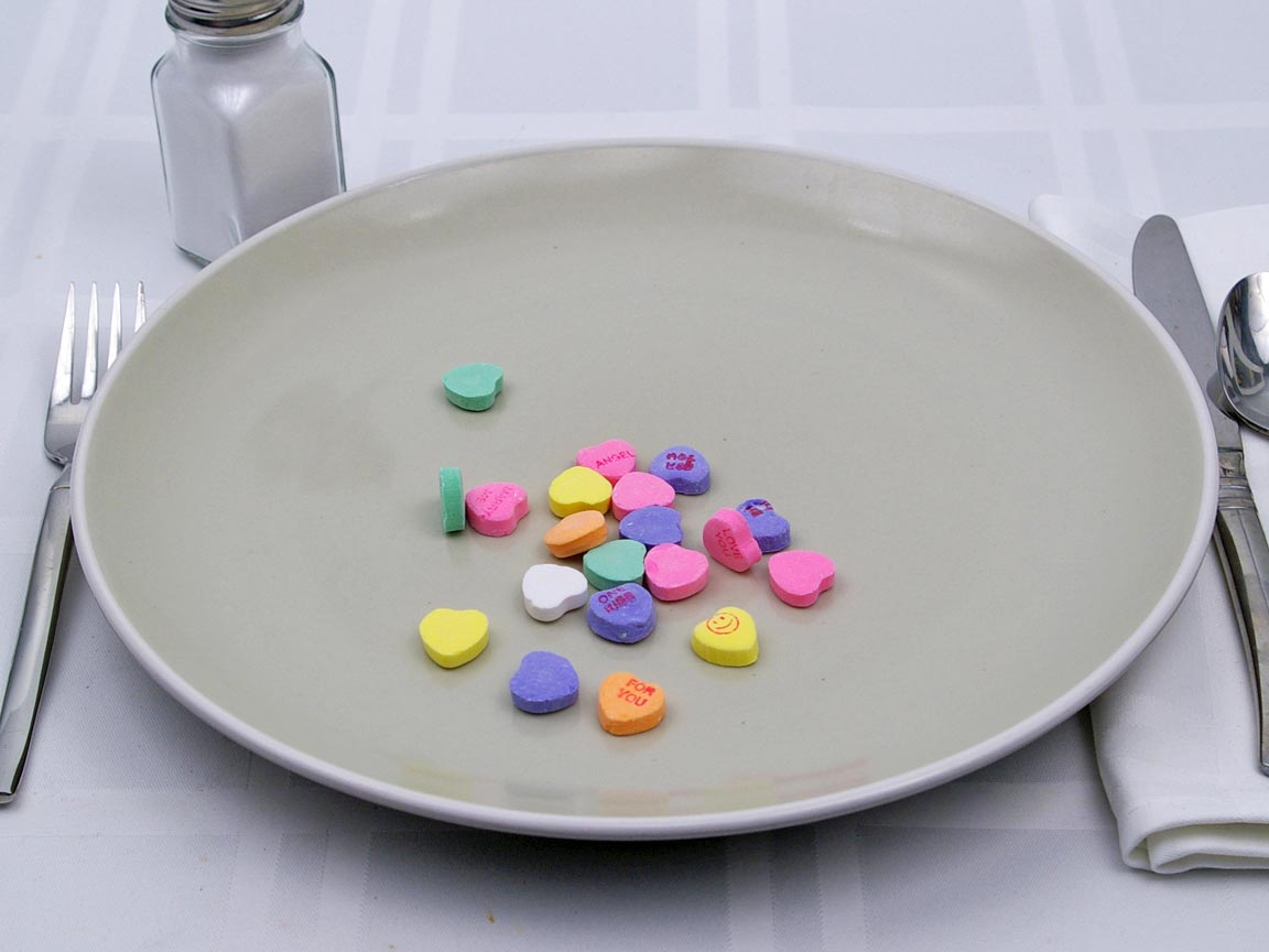 Calories in 20 piece(s) of Necco Sweethearts (conversation hearts)