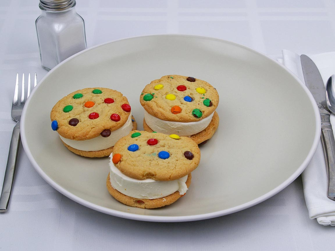 Calories in 3 cookie(s) of M & M Ice Cream Cookie Sandwich