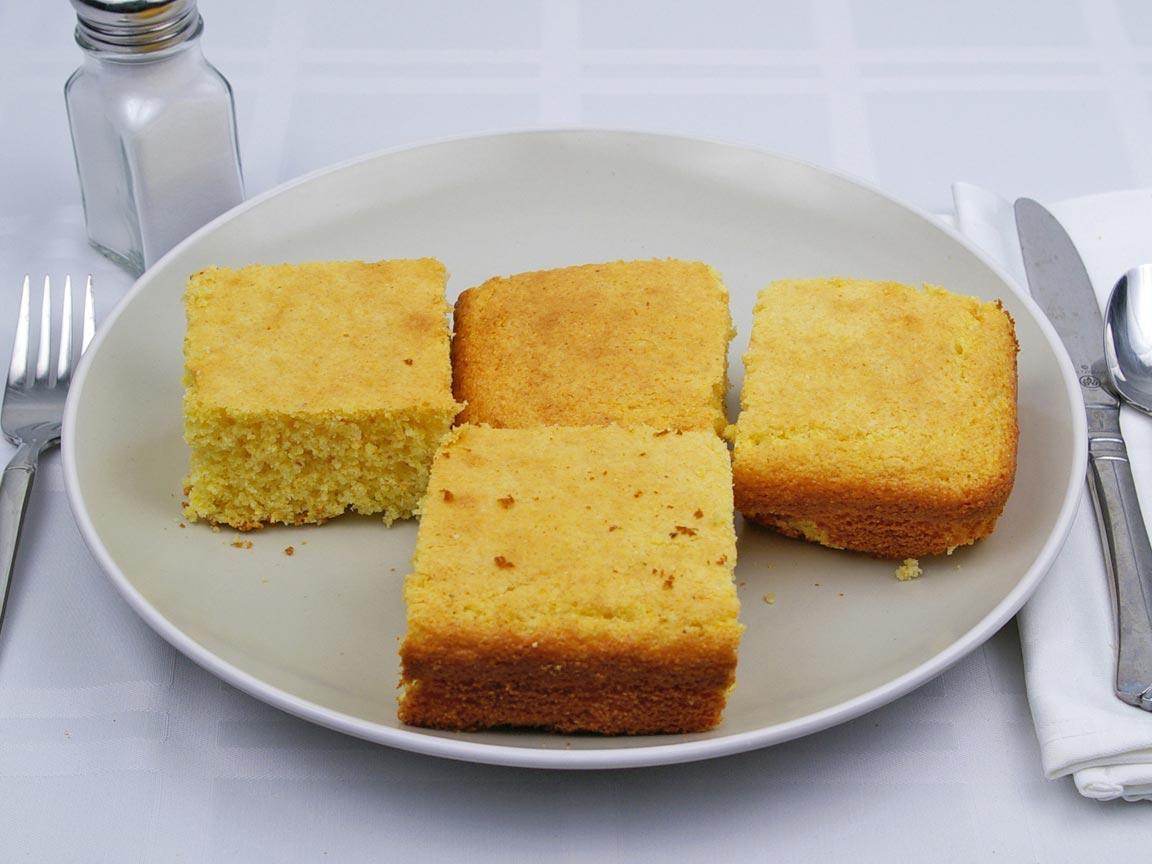 Calories in 4 piece(s) of Cornbread - Avg - Sweet