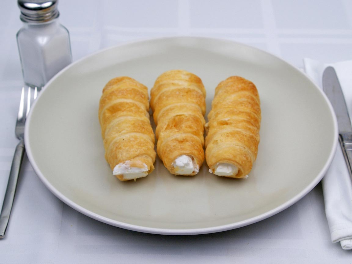 Calories in 3 pastry(s) of Cream Horns Pastry