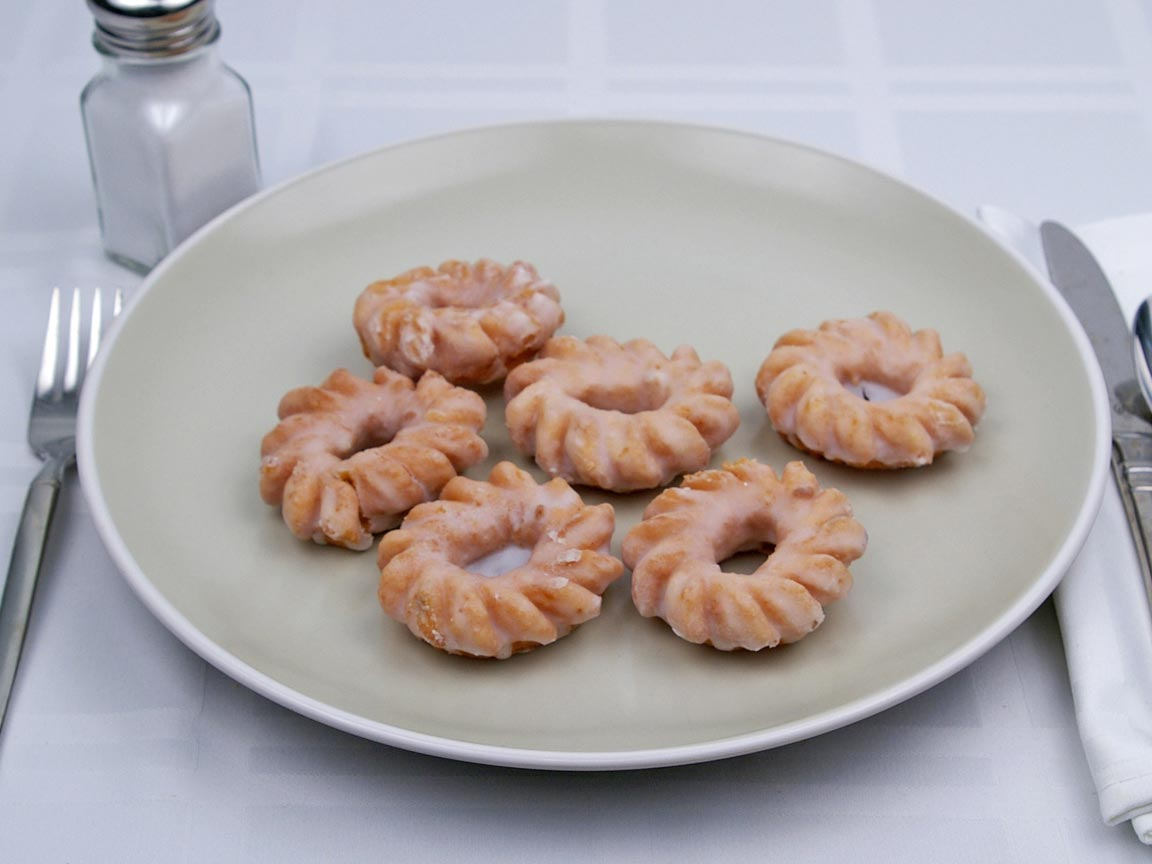 Calories in 6 mini(s) of Cruller Donut - Mini