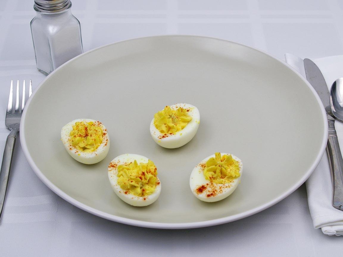 Calories in 2 egg(s) of Deviled Egg - Avg