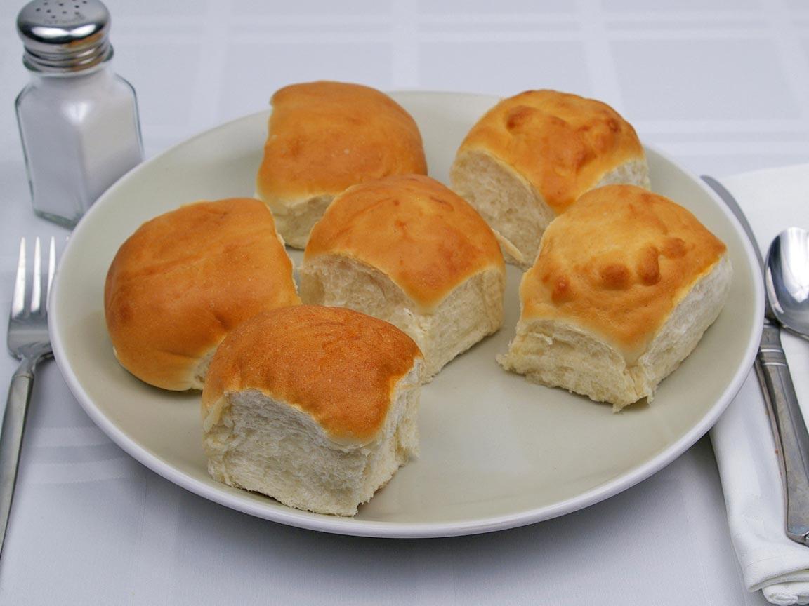 Calories in 6 roll of Dinner Roll - Avg