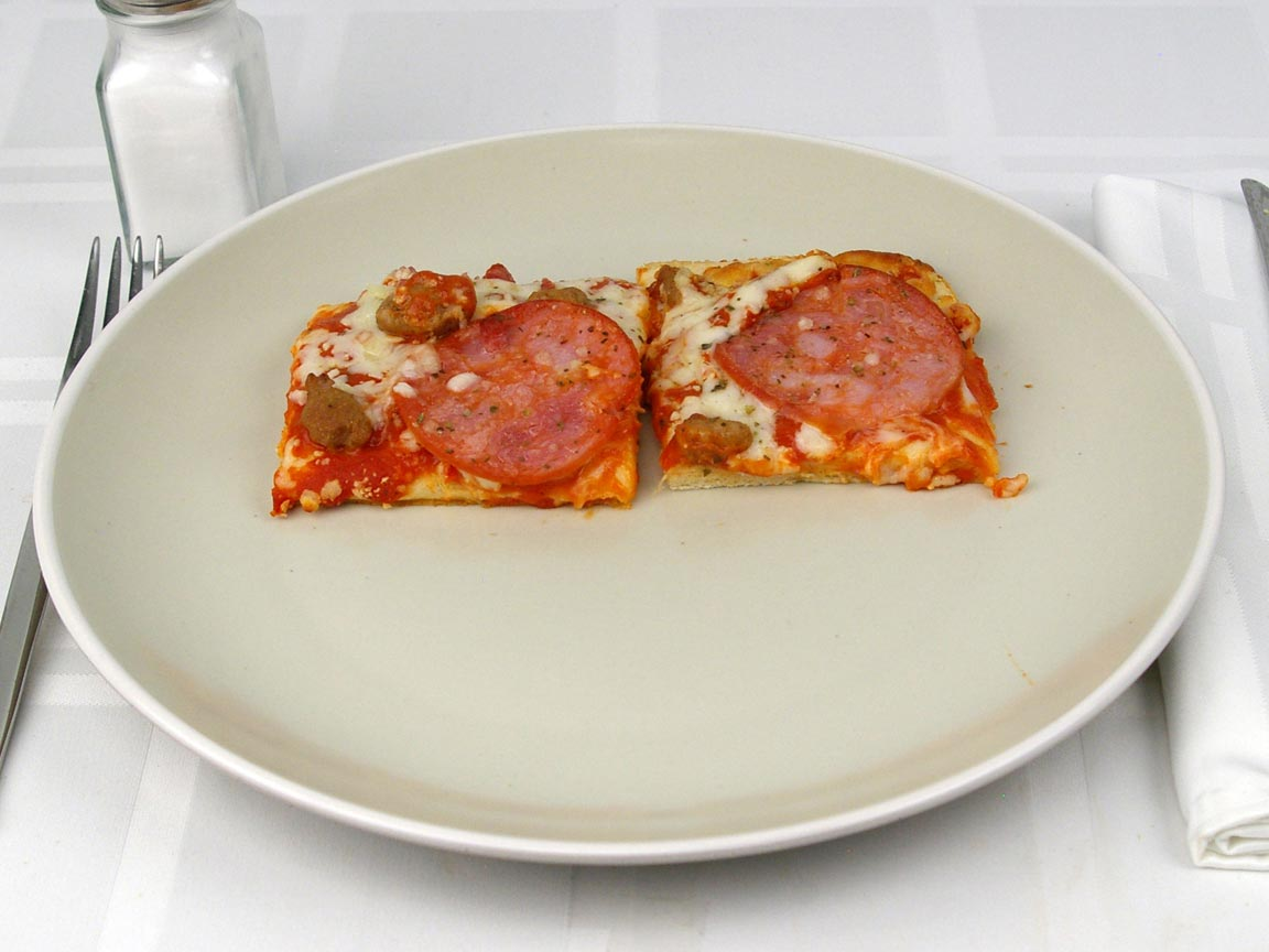 Calories in 2 piece(s) of Three Meat Sicilian Frozen Pizza - Flatbread Crust