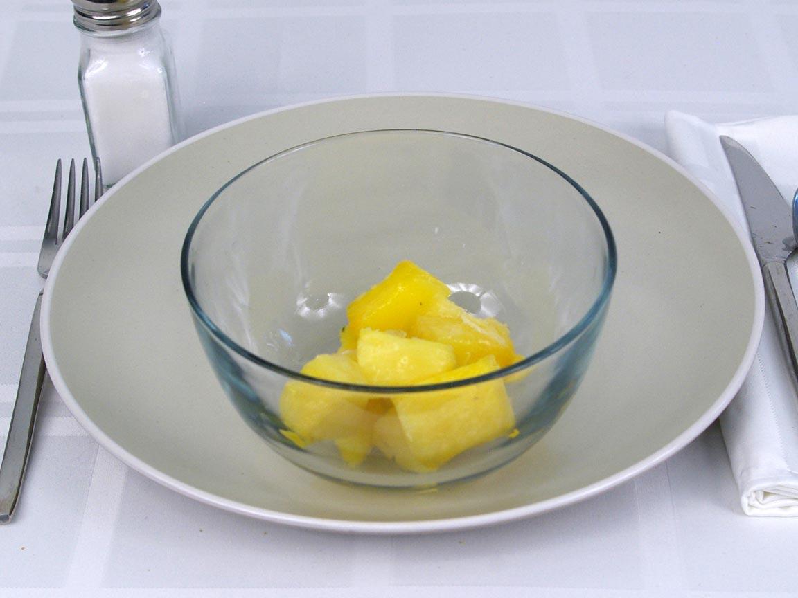 Calories in 0.75 cup(s) of Pineapple - Frozen
