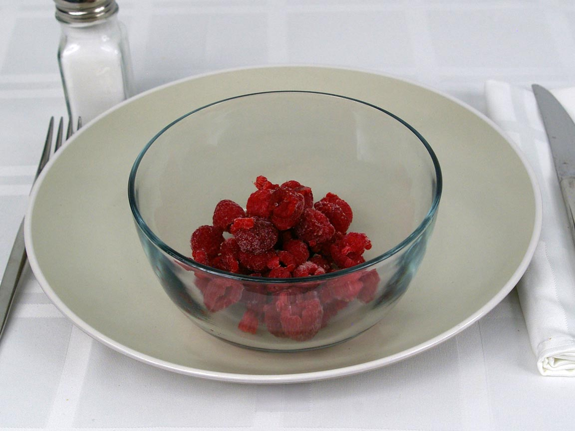 Calories in 0.75 cup(s) of Raspberries - Frozen