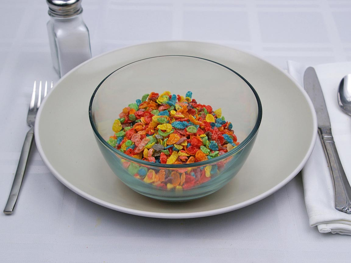 Calories in 1.25 cup(s) of Fruity Pebbles Cereal