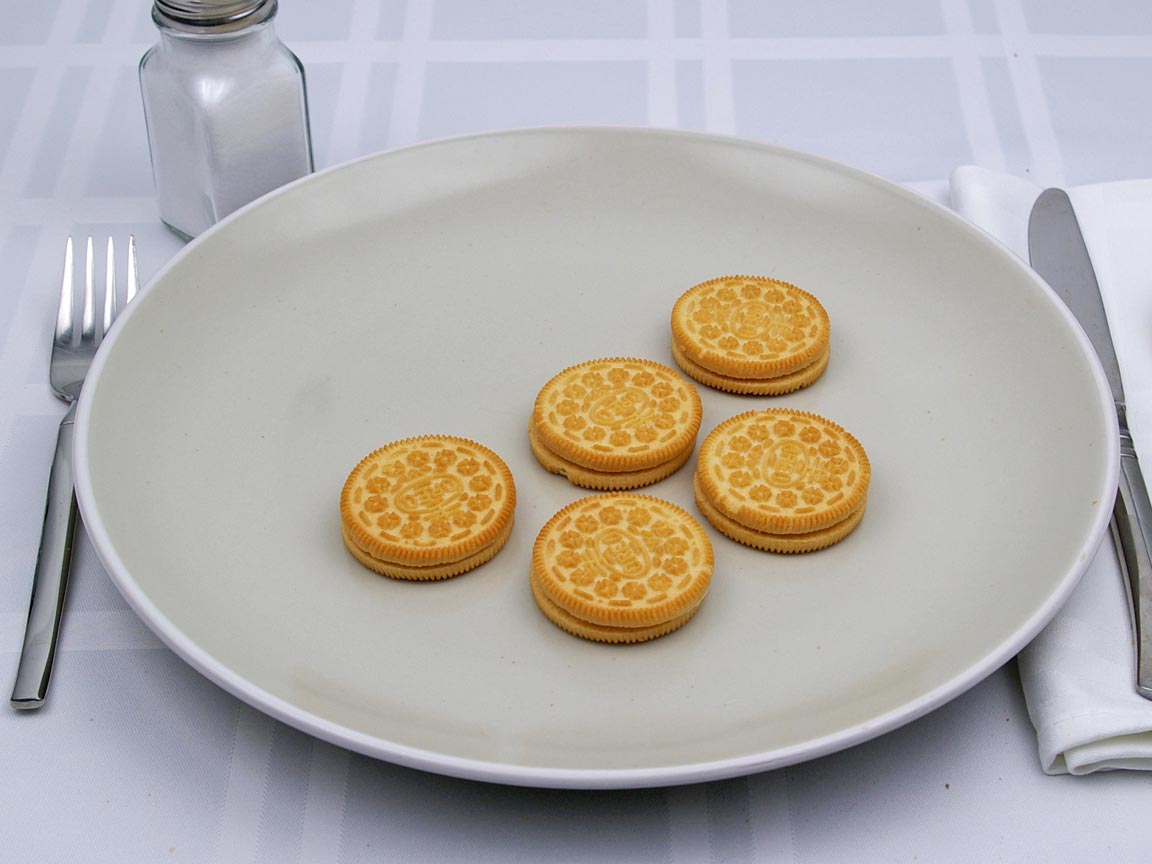 Calories in 5 cookie(s) of Golden Oreos Cookie