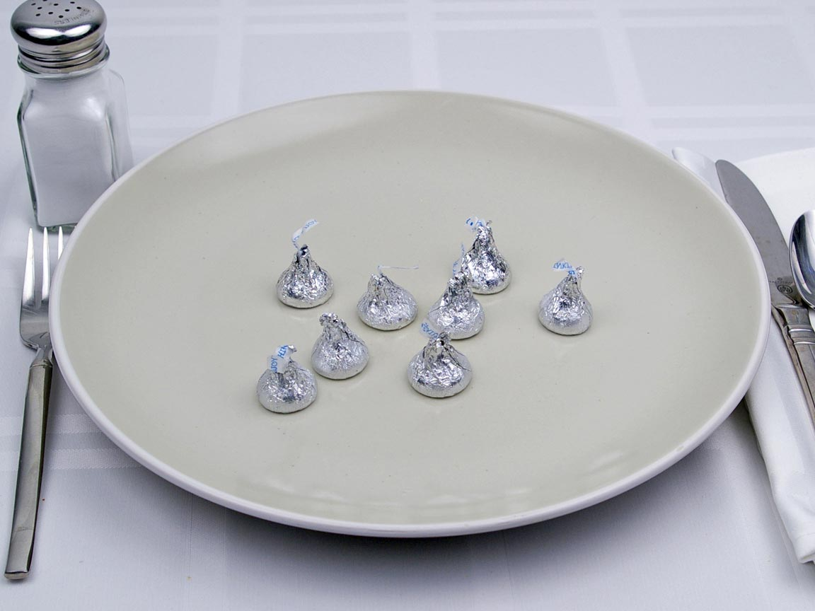 Calories in 8 kiss(es) of Hershey's Kissess - Milk Chocolate