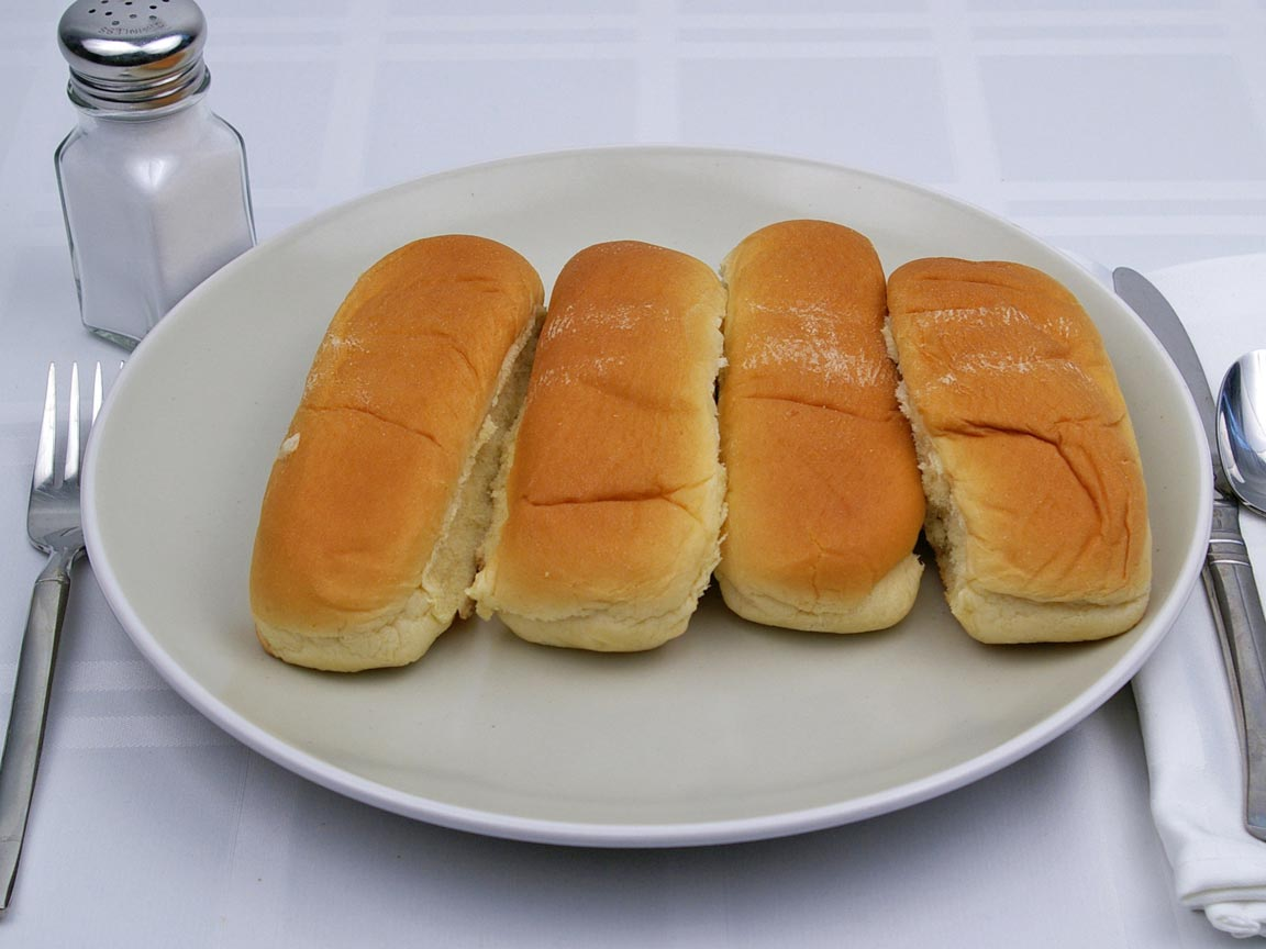 Calories in 4 bun(s) of Hot Dog Bun - Reduced Calorie - Avg
