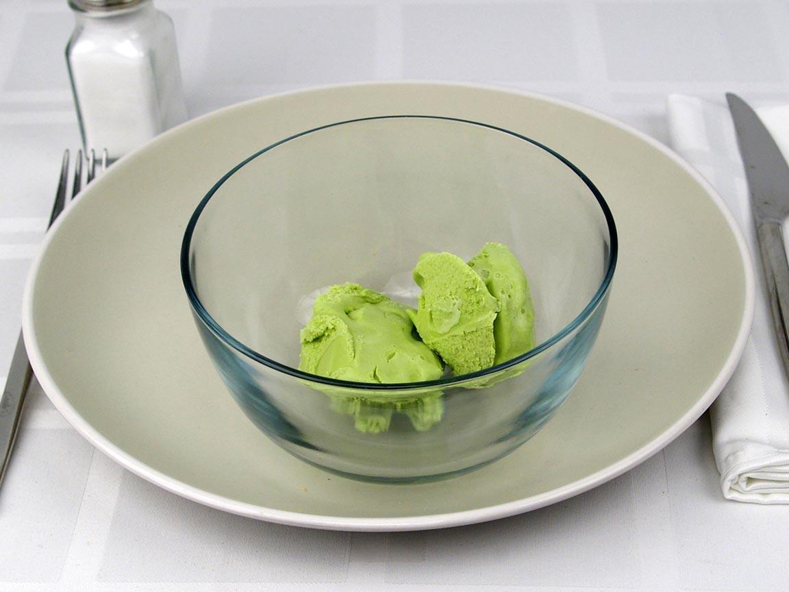Calories in 0.5 cup(s) of Haagen Dazs Green Tea Ice Cream