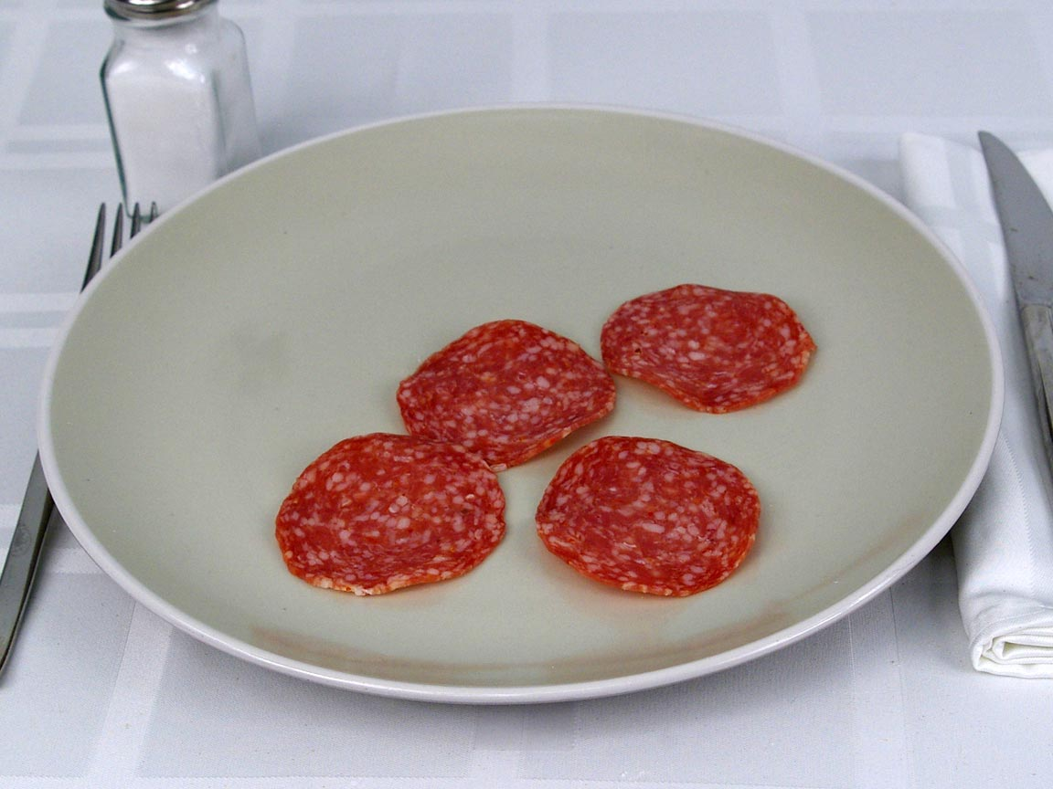 Calories in 4 ea(s) of Italian Dry Salami
