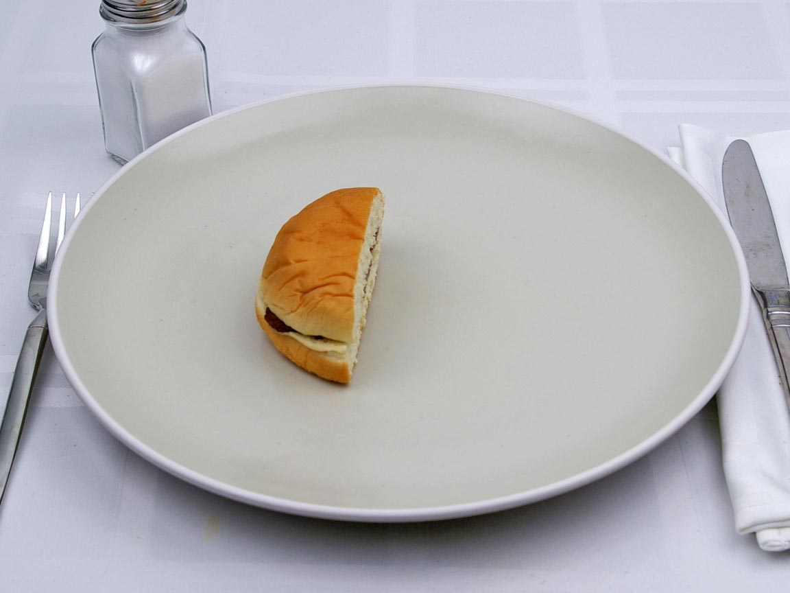 Calories in 0.5 burger(s) of Wendy's - Jr Hamburger