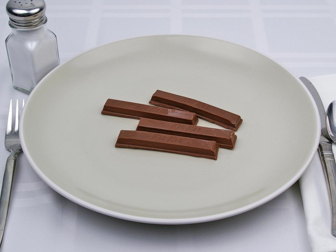 Calories in 4 piece(s) of Kit Kat