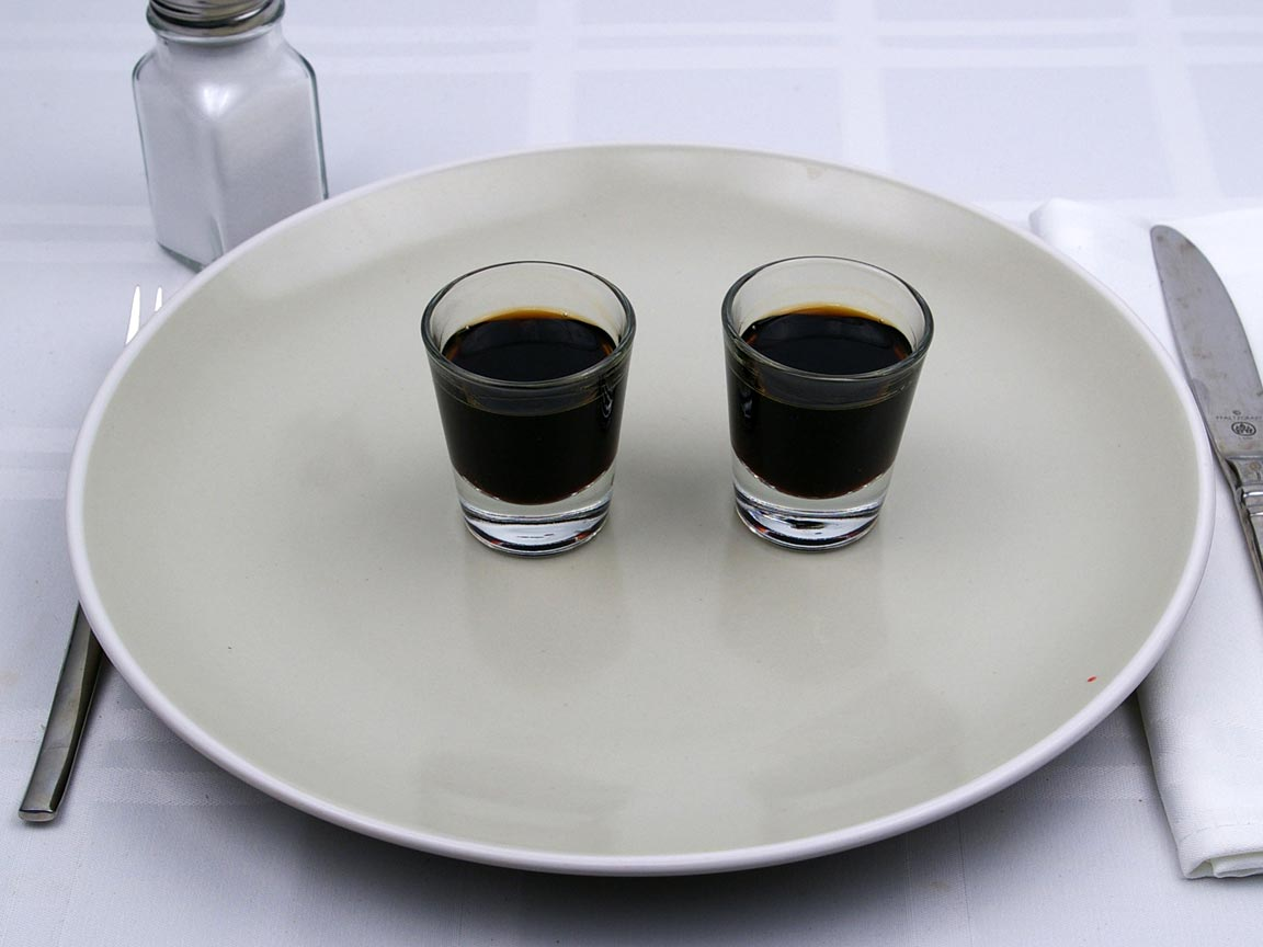 Calories in 2 fl oz(s) of Coffee Liqueur - 53 Proof - Avg