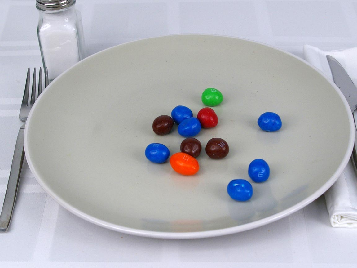 Calories in 12 piece(s) of M&Ms Peanut - Mega