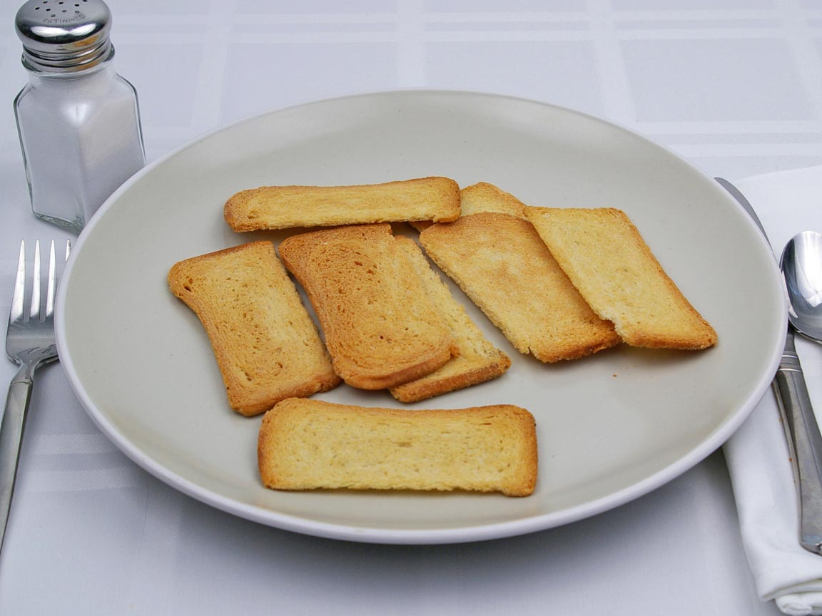 Calories in 8 piece(s) of Melba Toast - Rye