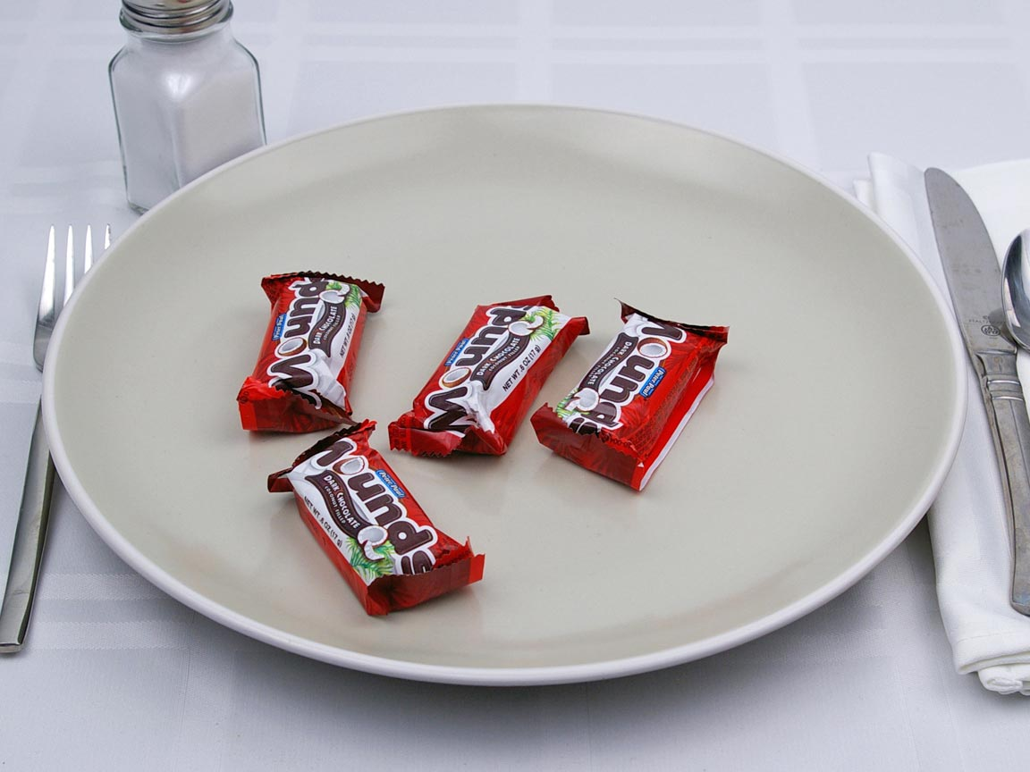 Calories in 4 piece(s) of Mounds - Snack Size