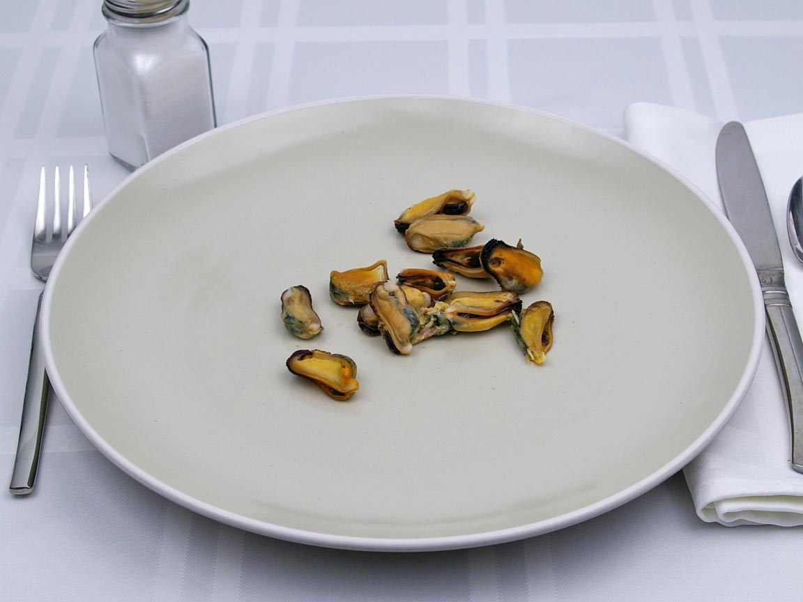 Calories in 28 grams of Mussels - Shelled