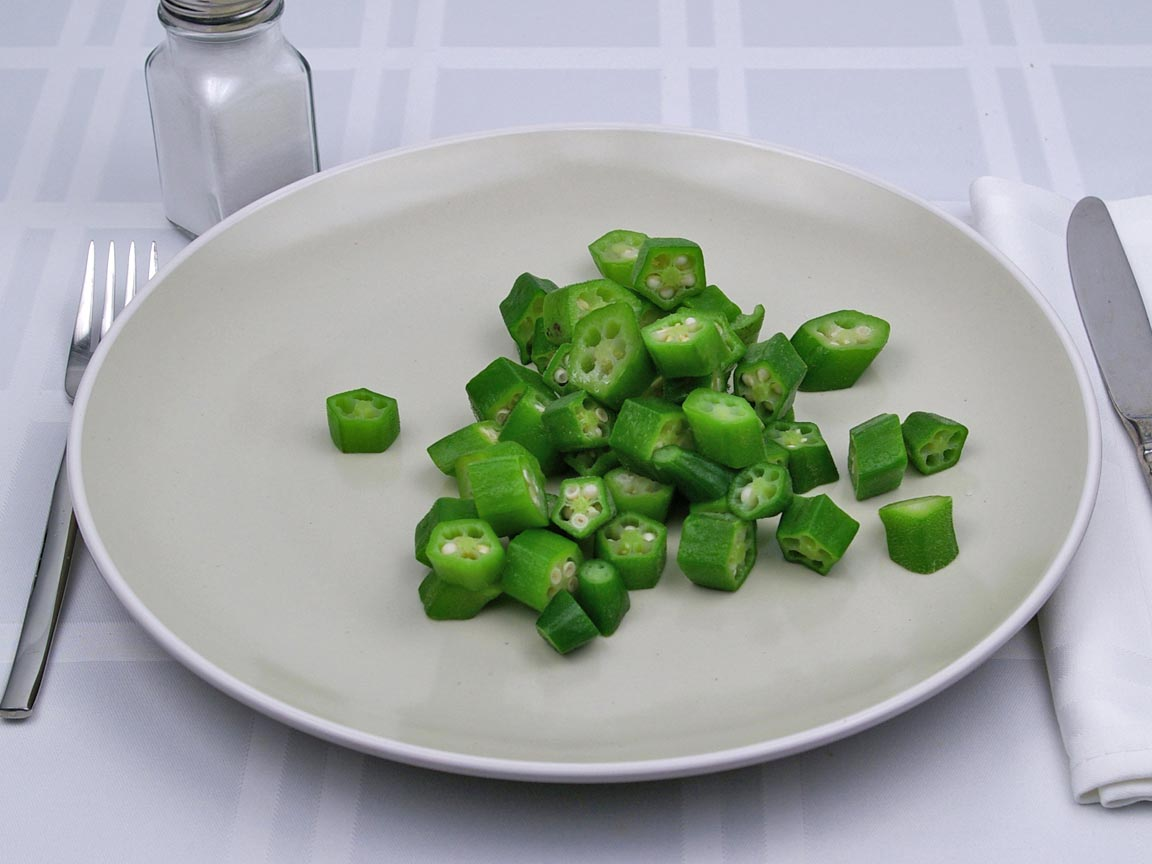 Calories in 1 cup(s) of Okra - Raw