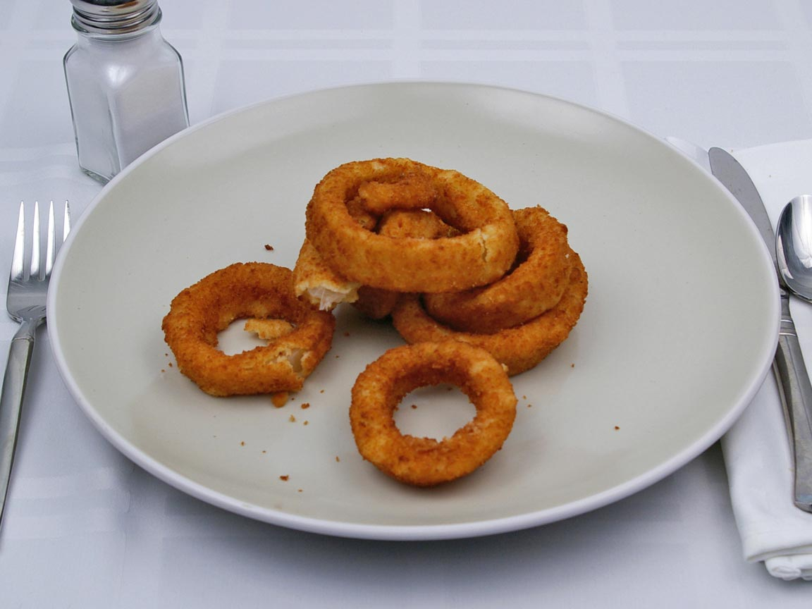 Calories in 85 grams of Onion Rings - Frozen - Oven Heated
