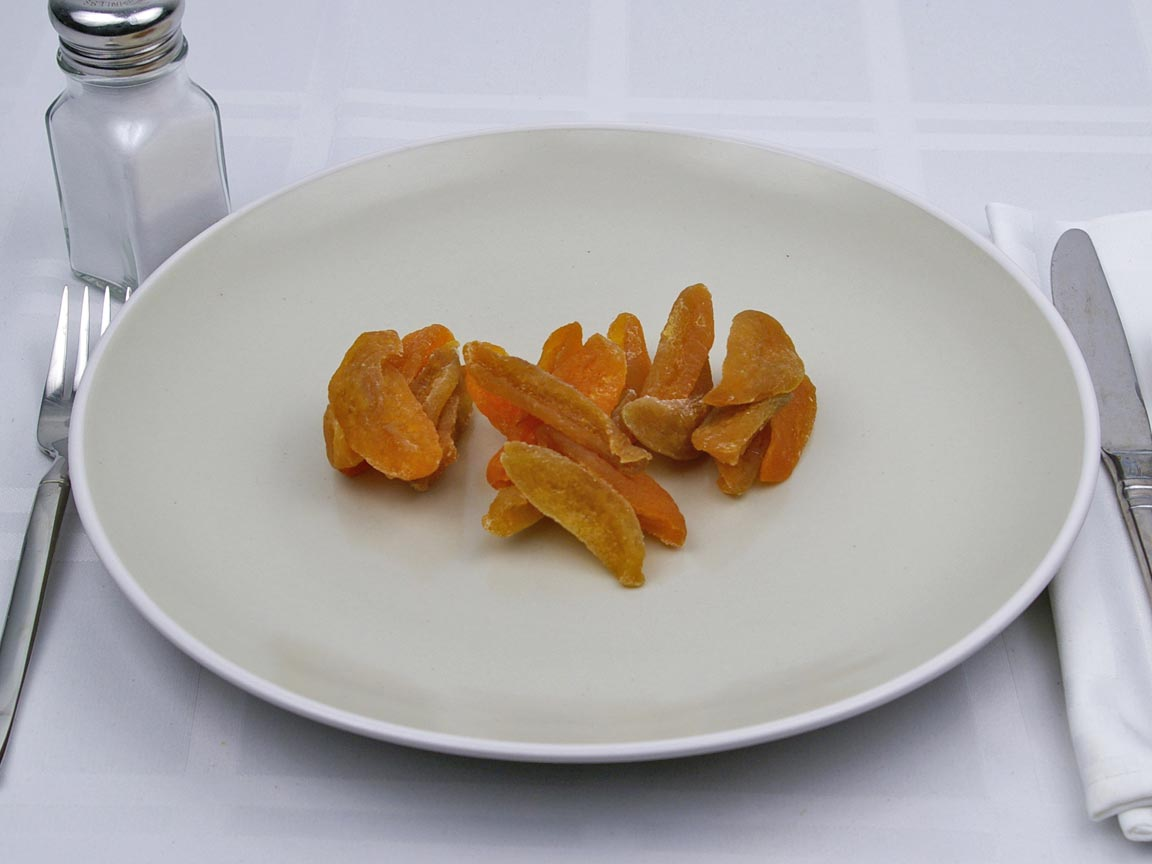 Calories in 1 cup(s) of Peaches - Dried