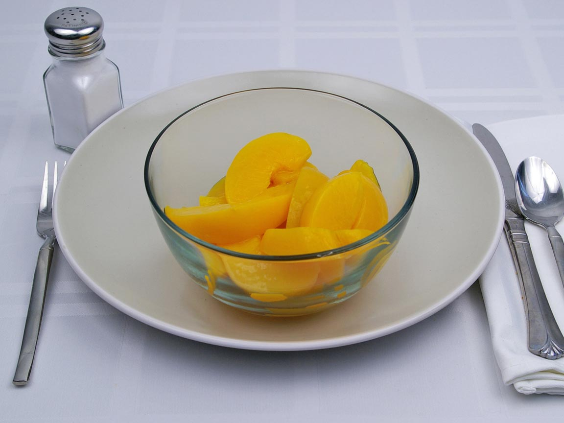 Calories in 1.5 cup(s) of Peaches - Canned - Heavy Syrup - Drained