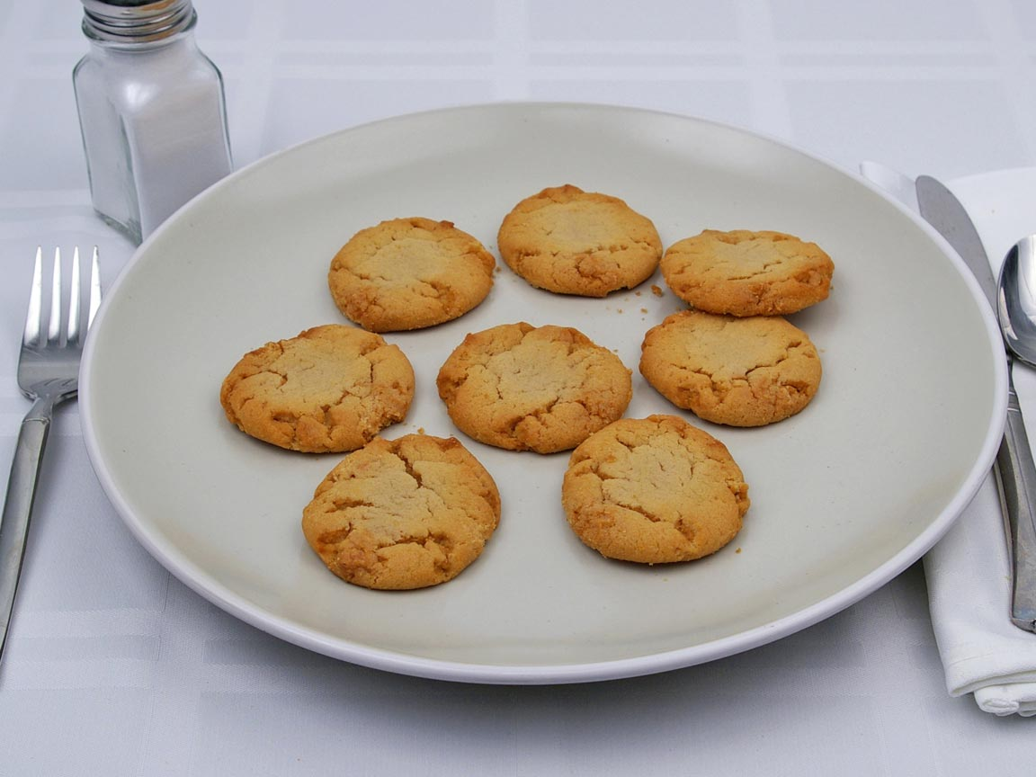 Calories in 8 cookie(s) of Peanut Butter Cookie