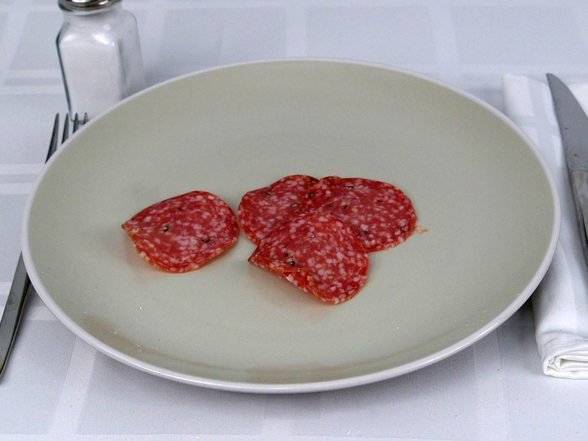 Calories in 4 ea(s) of Salami - Peppered