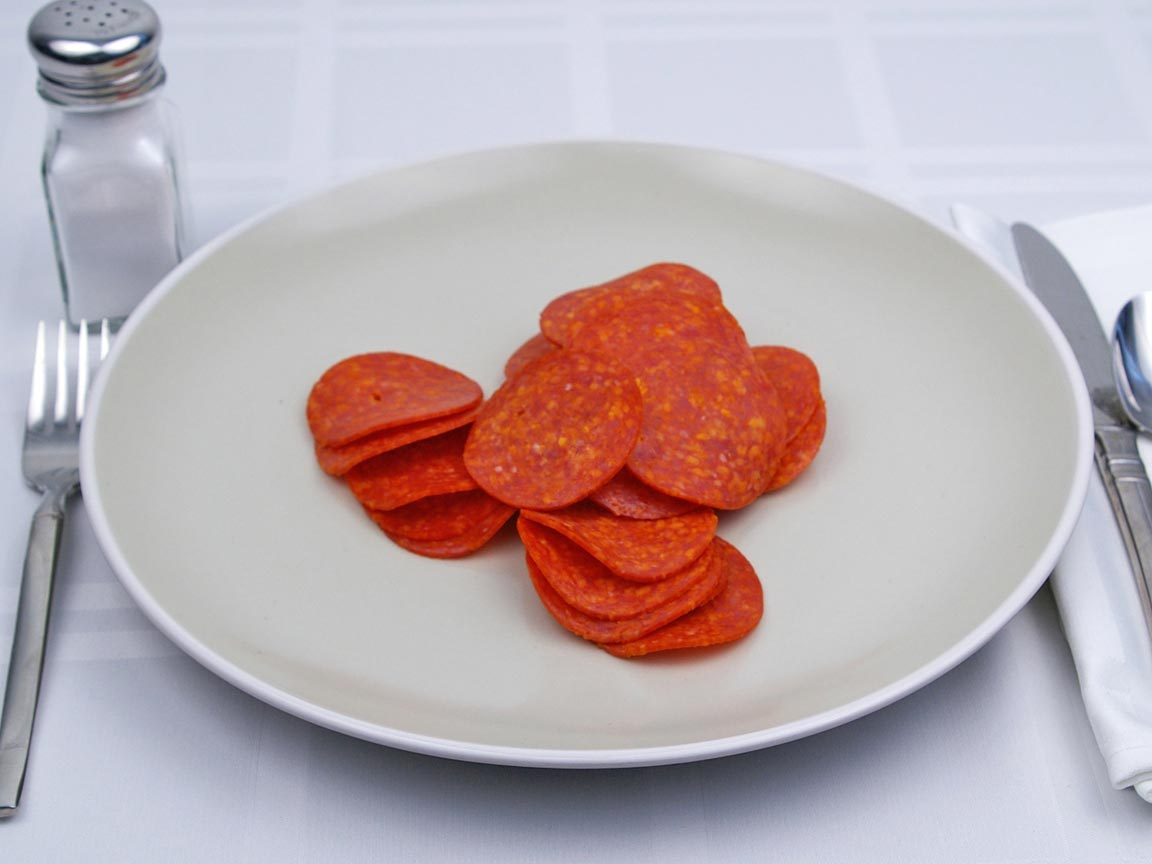 Calories in 30 slice(s) of Pepperoni - Sliced