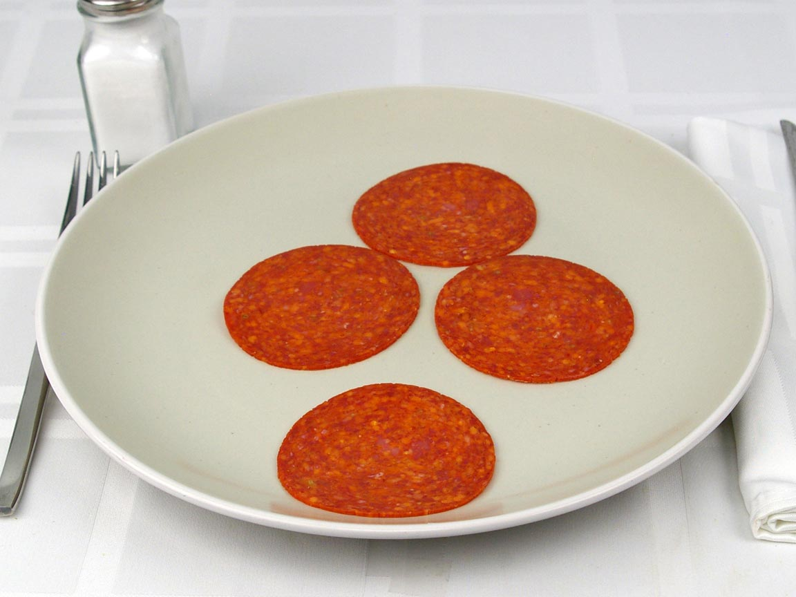 Calories in 4 piece(s) of Pepperoni Sliced - Large
