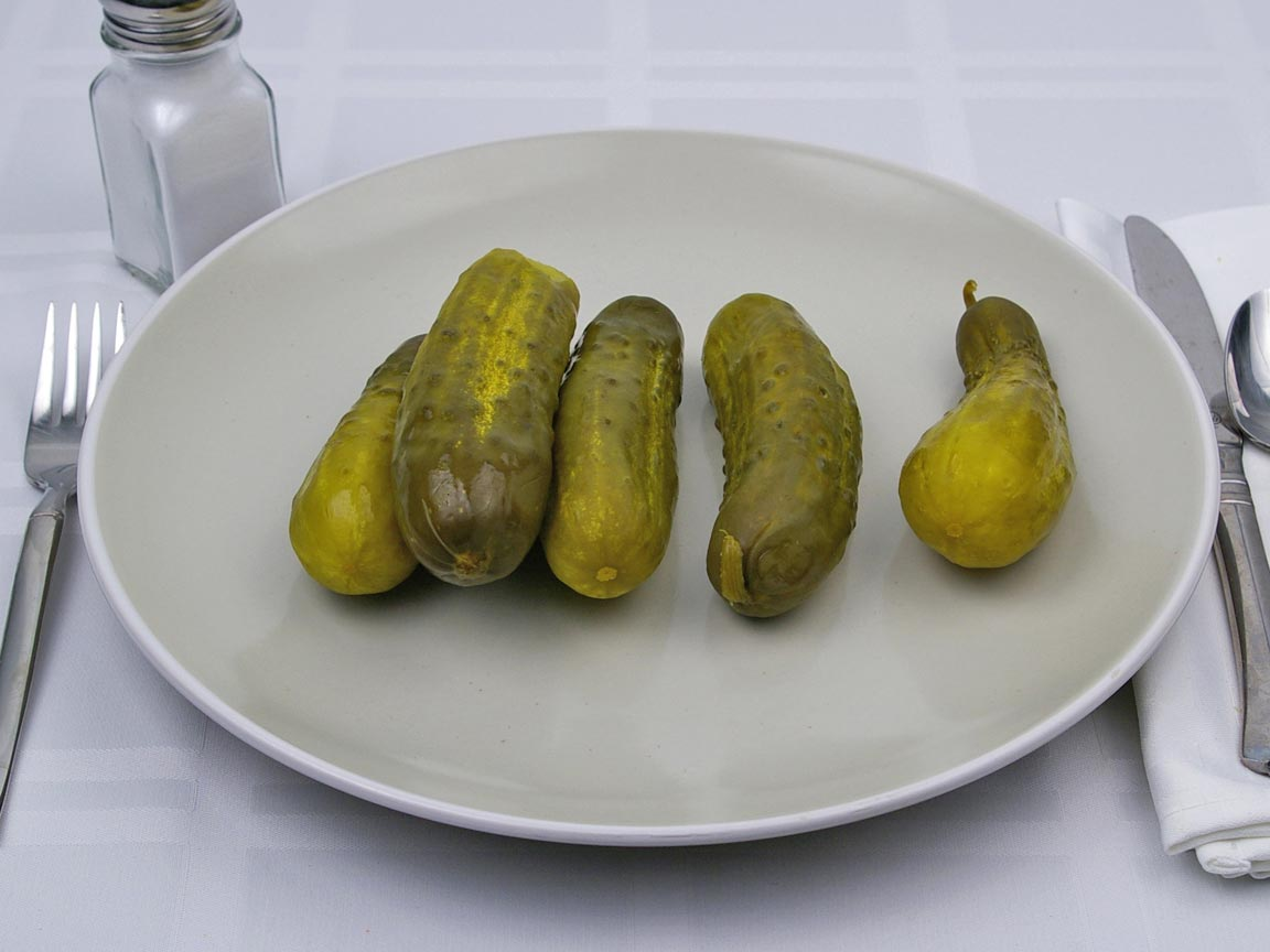 Calories in 5 pickle(s) of Dill Pickle - Whole