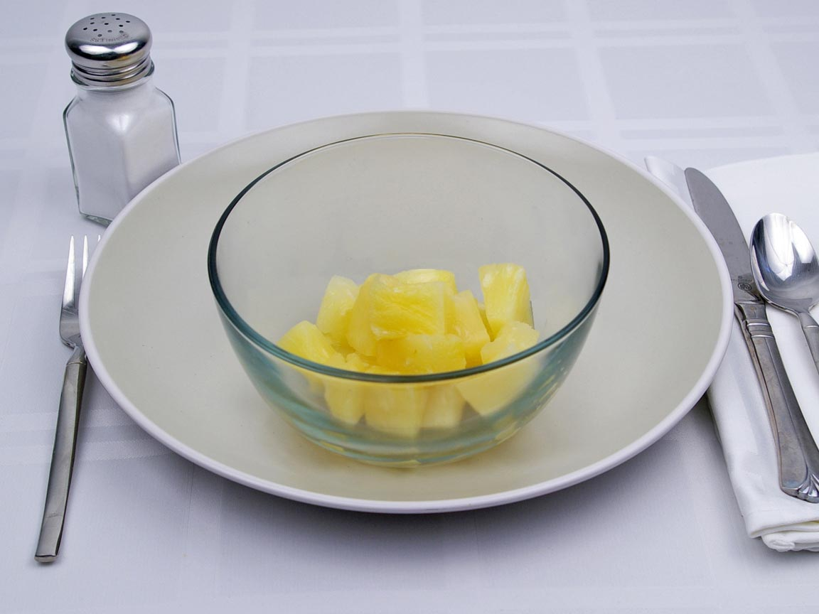 Calories in 1.25 cup(s) of Pineapple - Canned - Heavy Syrup